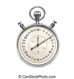 Stopwatch - Silver metallic stopwatch isolated on white...