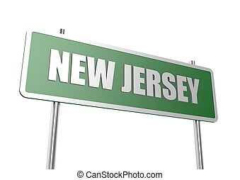 New Jersey sign board - Rendered artwork with white...
