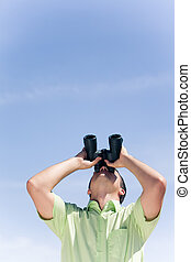Looking upwards - Photo of businessman in casual clothing...