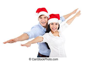 Christmas couple - christmas holiday couple smiling with...