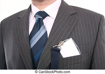 men with his id card