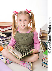 Girl with books - Image of happy pretty girl sitting and...