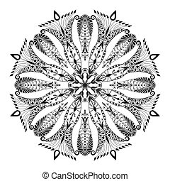 Kaleidoscopic floral pattern. Mandala in black and white