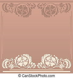 floral frame in neutral colors - Square floral frame in...