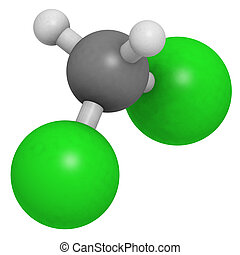 Dichloromethane (CH2Cl2, methylene chloride, DCM) molecule,...