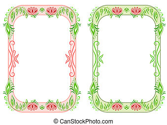 Two oval vertical floral frame