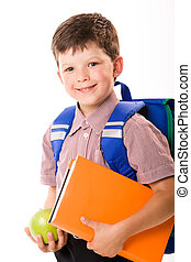 Schoolboy - Portrait of smiling schoolboy with rucksack...