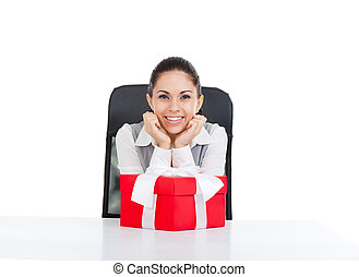 Business woman - business woman happy smile excited, sitting...