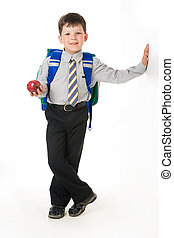 Diligent boy - Portrait of diligent boy with apple and...