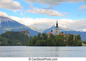 Lake Bled , Slovenia, Europe - Lake Bled with island, castle...