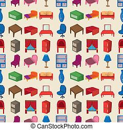 seamless Furniture pattern,cartoon vector illustration