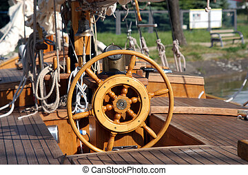 Steering wheel of old sail ship