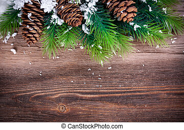 Christmas background - Christmas Fir Tree Border on a wooden...