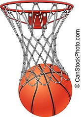 Basketball Through Net - Illustration of a basketball going...