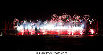 Fireworks - ISTANBUL - OCTOBER 29: Fireworks from Bosphorus...