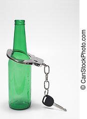 cerveza, llaves, esposas, -, borracho, Manejar, concepto