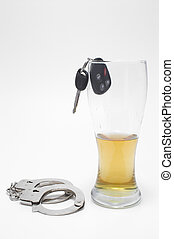 Beer, Keys and Handcuffs - Drunk Driving Concept - Drunk...