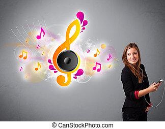 bonito, notas, música, Escutar, menina, cantando,  musical