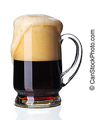 Glass of dark beer, isolated - Glass of dark beer, isolated...