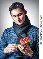 man with christmas gift box