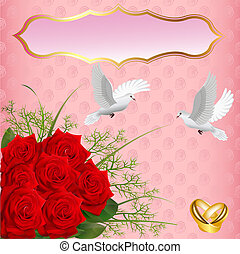 wedding card with roses and rings pigeons - illustration...