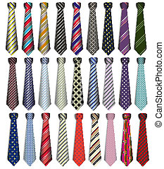 of a set of male business ties on a white background -...