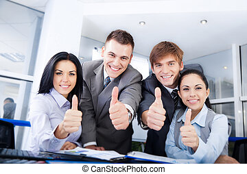 Business people group team hold point thumb up finger...