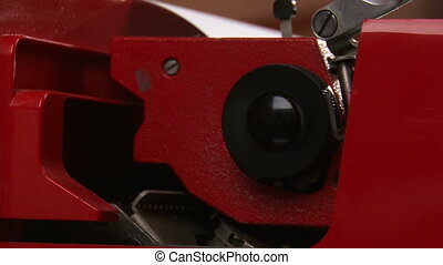 Typewriter, red, side view, close up