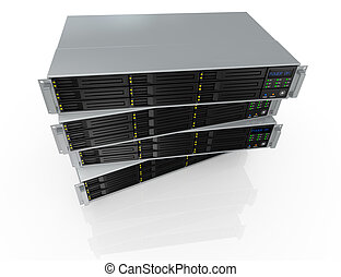 rack server - top view of four server racks with nine hd...