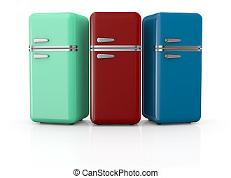 vintage refrigerator - front view of three vintage fridges...