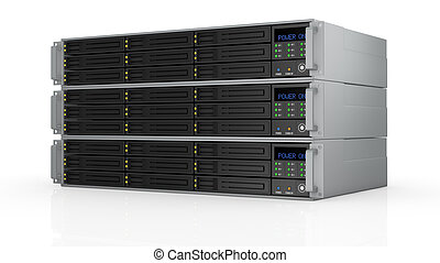 rack server - one pile of three server racks with nine hd...