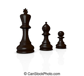 chess: the king, the bishop and the pawn (3d render)