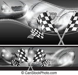 Checkered flags on auto background - Two crossed checkered...