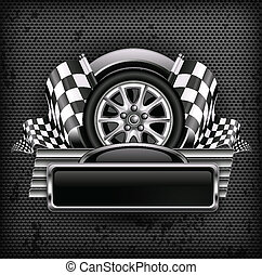 Racing emblem on black & text - Racing emblem, crossed...