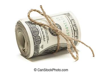 Roll of One Hundred Dollar Bills Tied in Burlap String on...