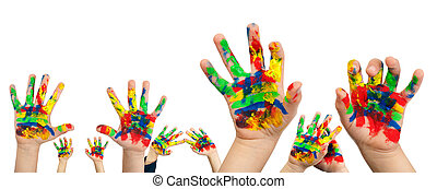Boy hands painted with colorful paint - Children's hands...
