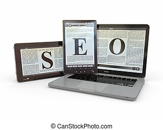 Text SEO on screen of laptop, tablet  pc. 3d