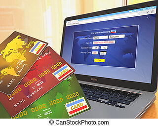 E-commerce Credit cards on laptop Three-dimensional image