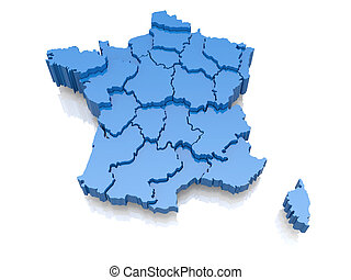 Three-dimensional map of France on white background. 3d