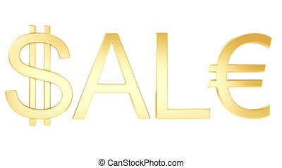 "Gold - 3 type of ""sale"" animation. Camera moves into text on..."