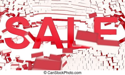 "Animated ""Sale"" text - Animation of red ""SALE"" text breaking..."