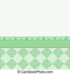Green Polka Dots/Hearts Background