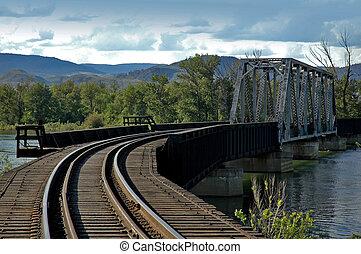 Train Bridge - Train tracks over a train bridge over a...
