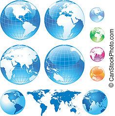 色, 地球儀, グロッシー, 地図
