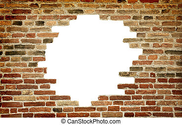 white hole in old wall, brick frame - Old brick wall with...