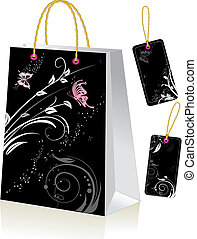 Black shopping bag and labels