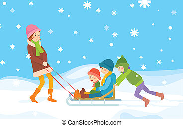 Children sledding Winter background