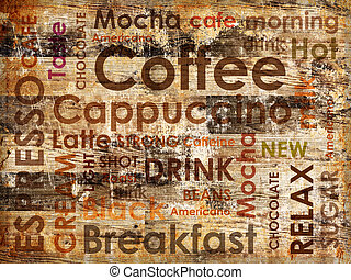 sorts of coffe on wooden background