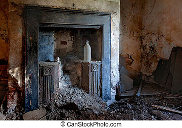Interior of derelict building in Cambridgeshire