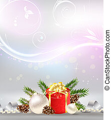 Christmas background with decoration, gift and ribbons -...